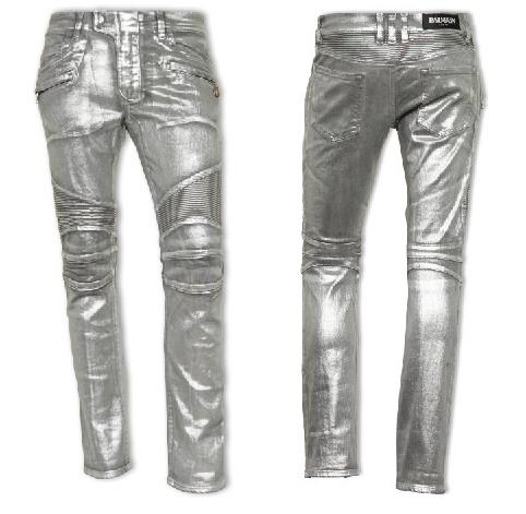 The Balmain Silver Biker Stretch Denim Jeans – Second Kulture