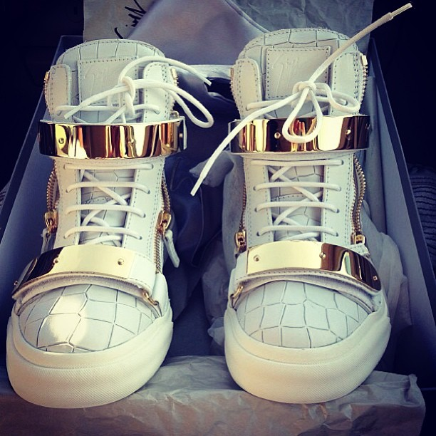 giuseppe zanotti homme double gold plated sneakers shoes