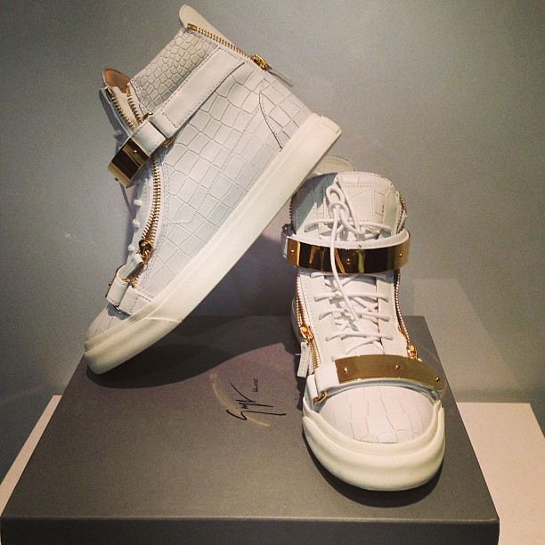 4733801c828f Giuseppe Zanotti Gold Double Bracelet White Crocodile Hi-Top Sneakers