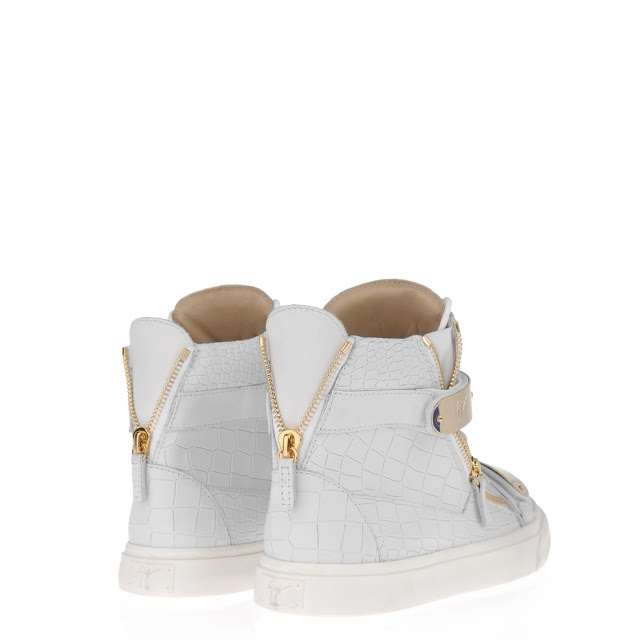 f308e2e60 White crocodile embossed hi-top from Giuseppe Zanotti Design featuring a  round toe, a white rubber sole, tonal stitched detailing at the side  panels, ...