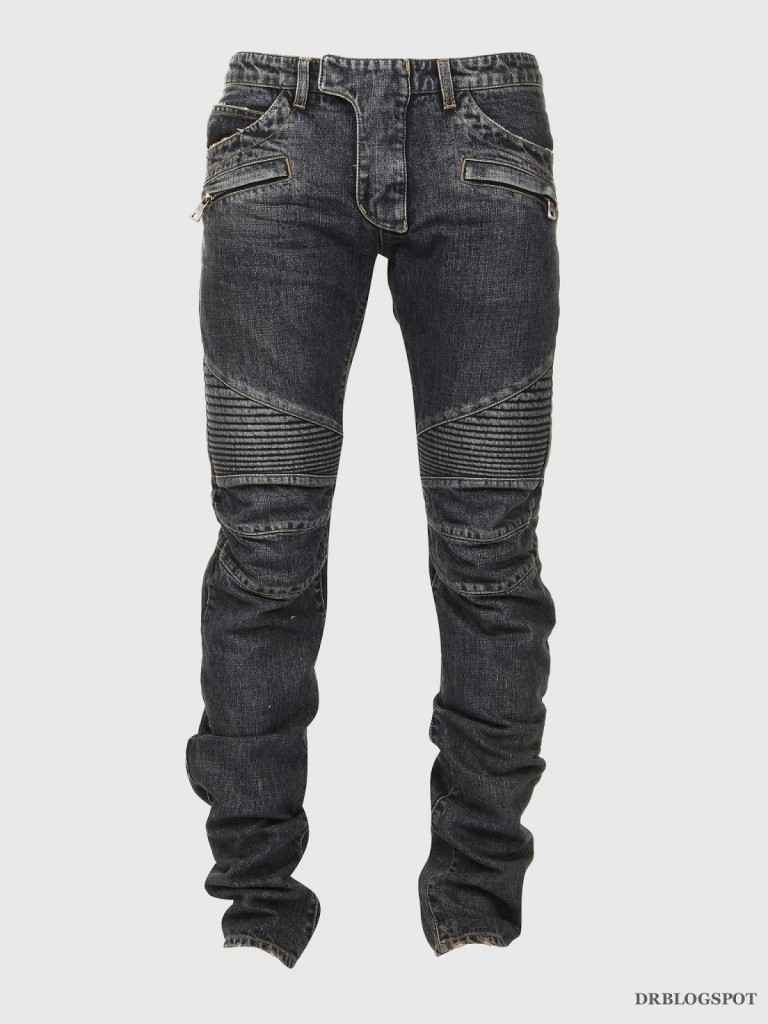 Balmain Jeans Join the denim parade in sought-after Balmain jeans, from skinny and slim fits to moto-inspired pairs. Get ready to hit the road in the Parisian powerhouse's signature biker jeans, quilted and distressed for a rough-and-ready finish and available in a variety of well-worn washes.
