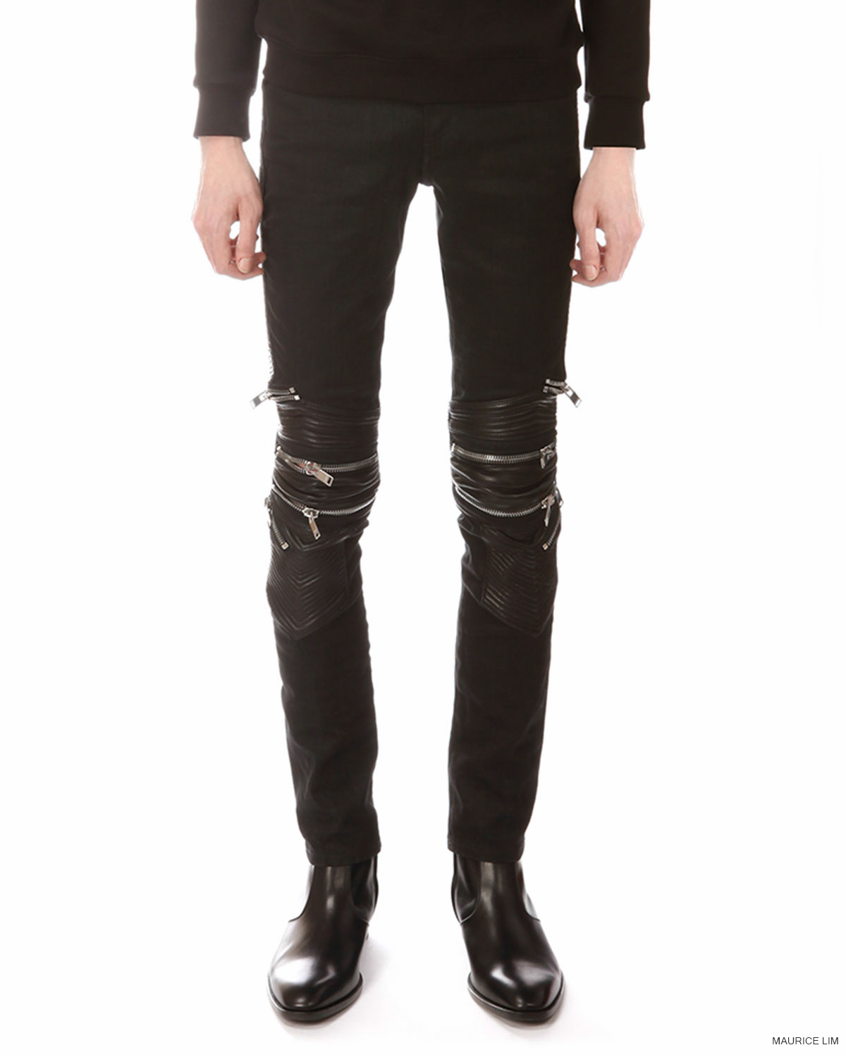 d22c40d0502 Matches Fashion – Saint Laurent Leather and Denim Skinny Biker Jeans. Saint  Laurent offers a slick, modern take on moto-style denim with these skinny  black ...