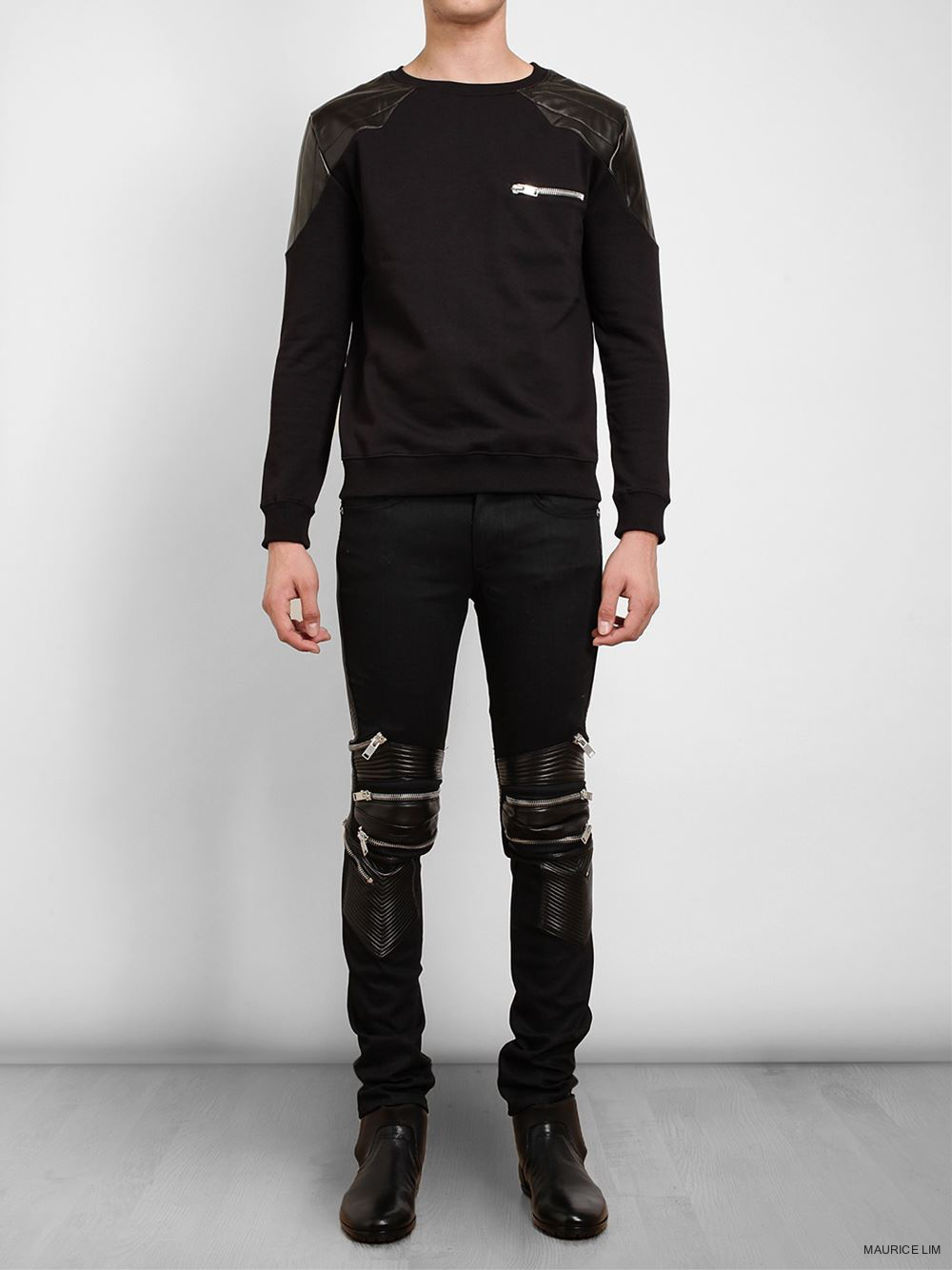 7ff543efdd2 Bergdorf Goodman – Saint Laurent Biker Zipper-Knee Denim Jeans. Saint  Laurent denim jeans have a biker style with leather and zippers covering  the knees.