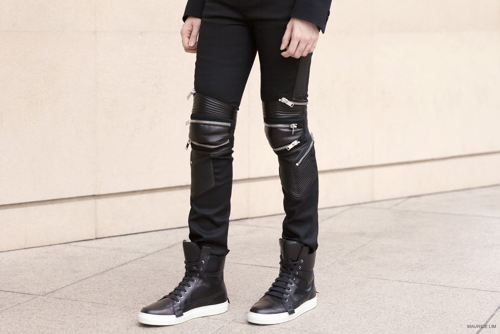 e7776359a89 Perhaps not for your everyday enjoyment, these one-of-kind Saint Laurent  Leather and Denim Zip-Detail Biker Jeans are not aim for basic comfort or  even ...