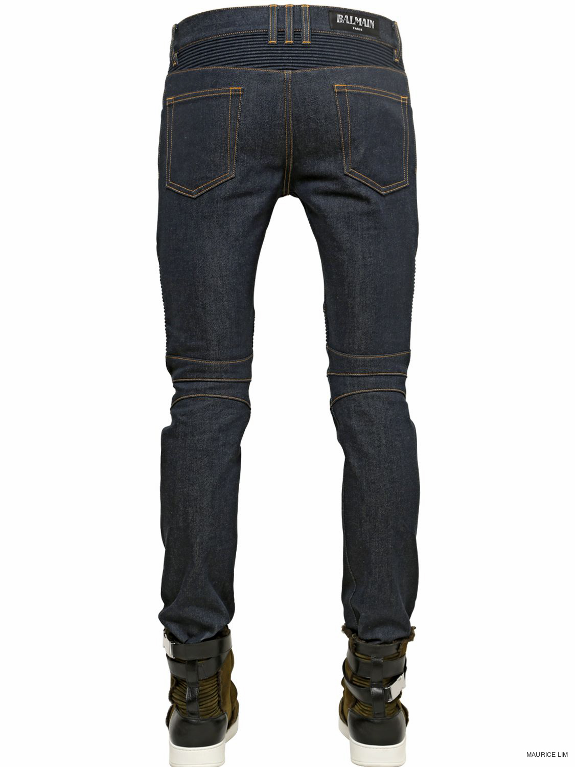 a8bb3d43 Balmain – Balmain Raw Stretch Slim Biker Jeans. This Biker Jeans,  embellished with ribbed panels, is one of Balmain most popular styles.
