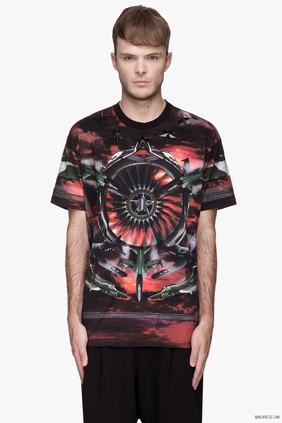 Givenchy red fighter stars appliqu print columbian fit t for Givenchy star t shirt