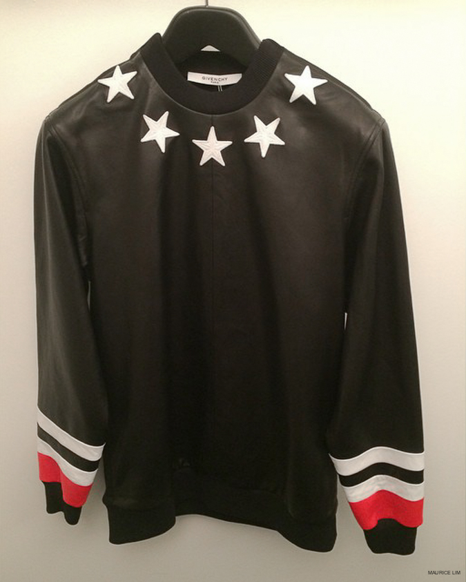 b45e3a9f58 GIVENCHY STAR EMBROIDERED STRIPED CUFF LEATHER COLUMBIAN-FIT SWEATSHIRT  Givenchy Pre-Spring 2015 Collection. GIVENCHY ROTTWEILER PRINT SLEEVELESS  HOODIE