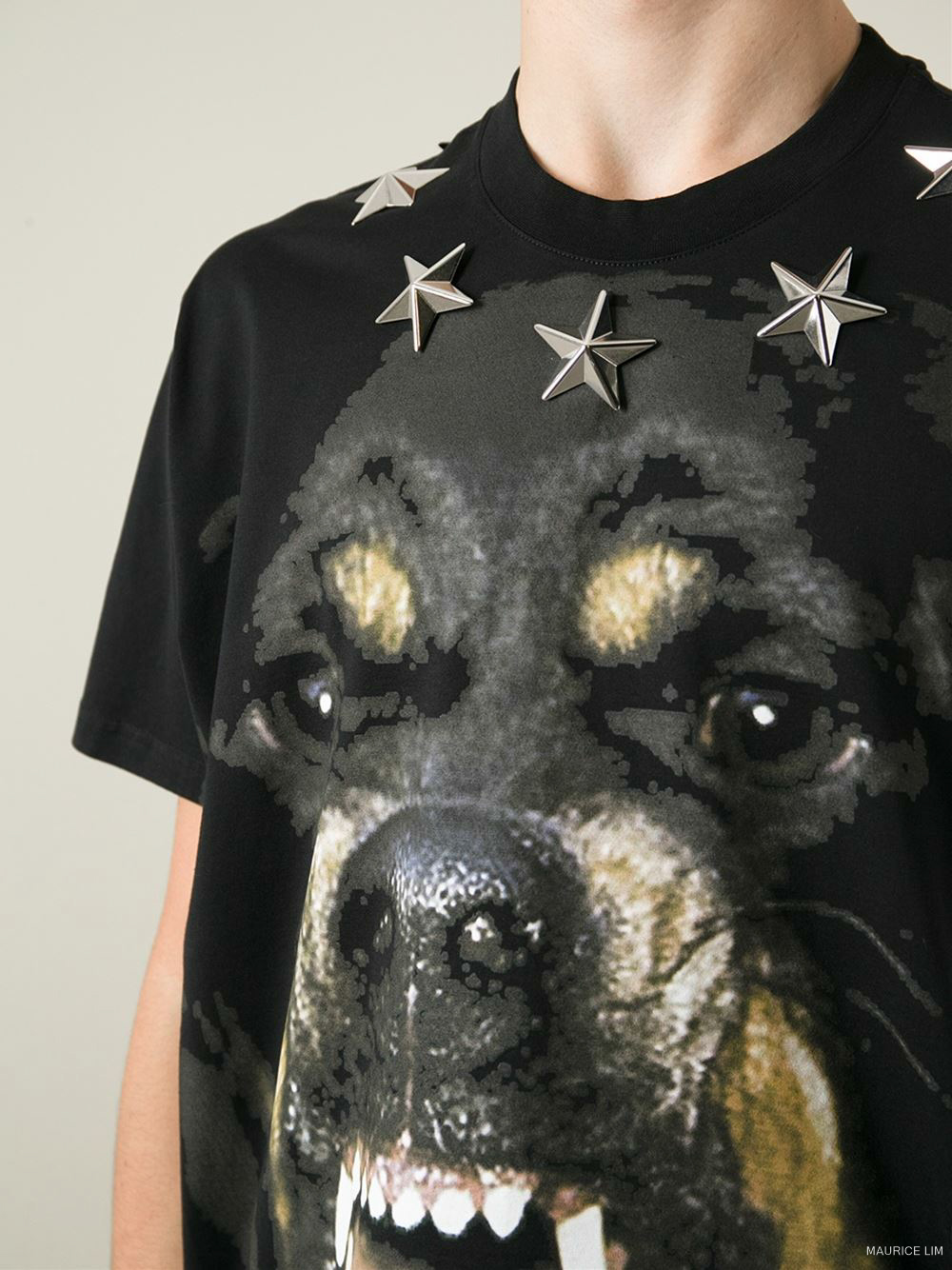 Givenchy Rottweiler Star Appliqué Print Columbian Fit T