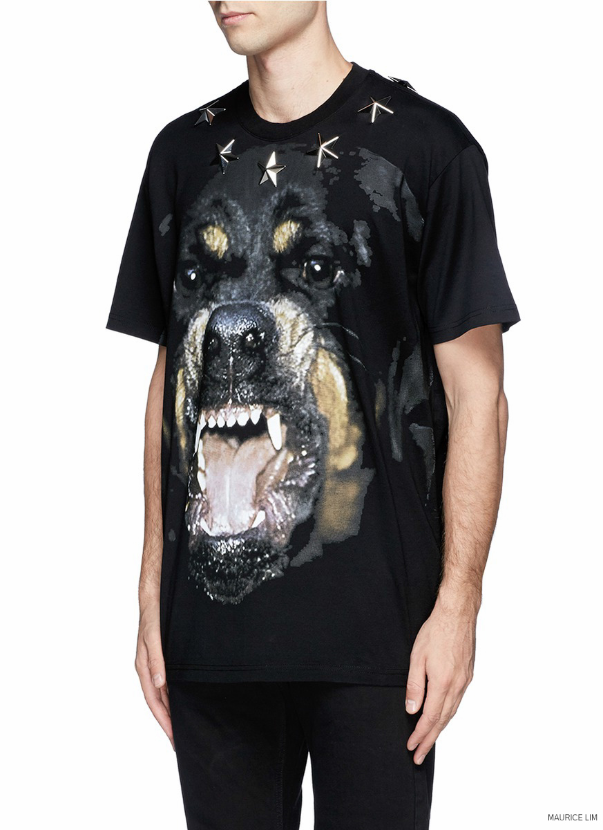 Givenchy rottweiler star appliqu print columbian fit t for Givenchy 5 star shirt