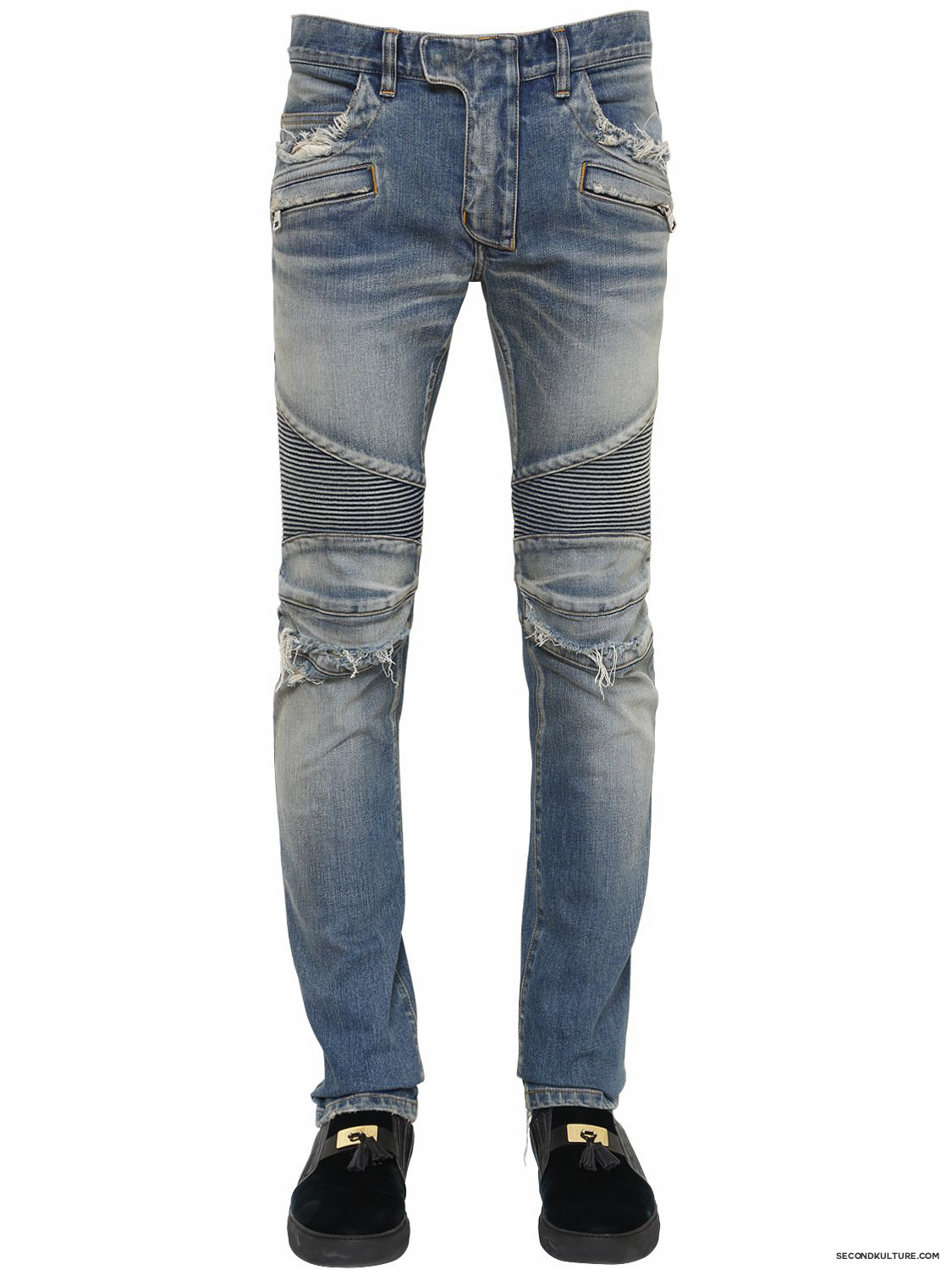 Balmain-16cm-Blue-Washed-Knee-Destroyed-Denim-Biker-Jeans-Fall-Winter-2015-1