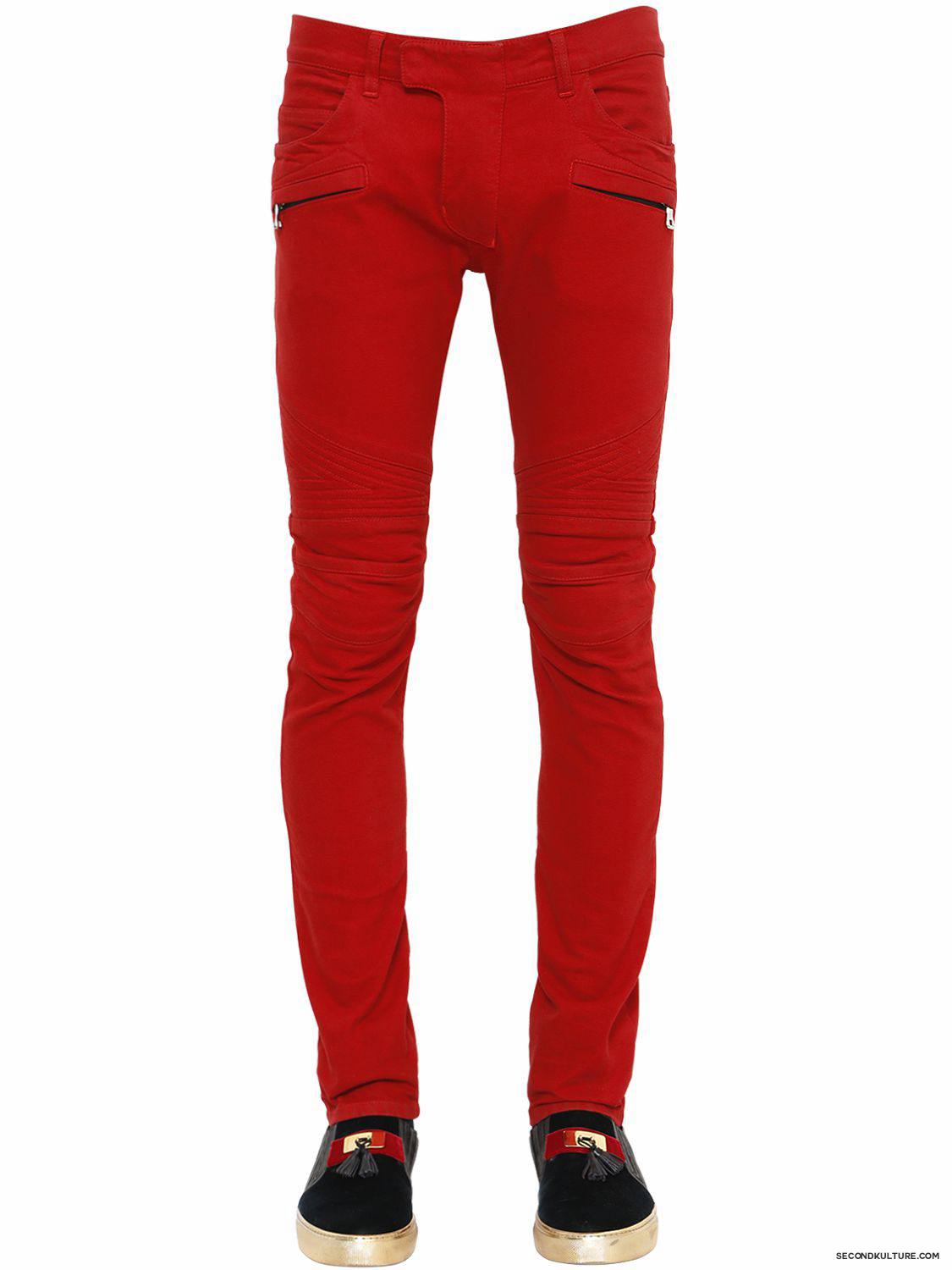 Balmain-16cm-Red-Chevron-Quilted-Stretch-Denim-Biker-Jeans-Fall-Winter-2015-1