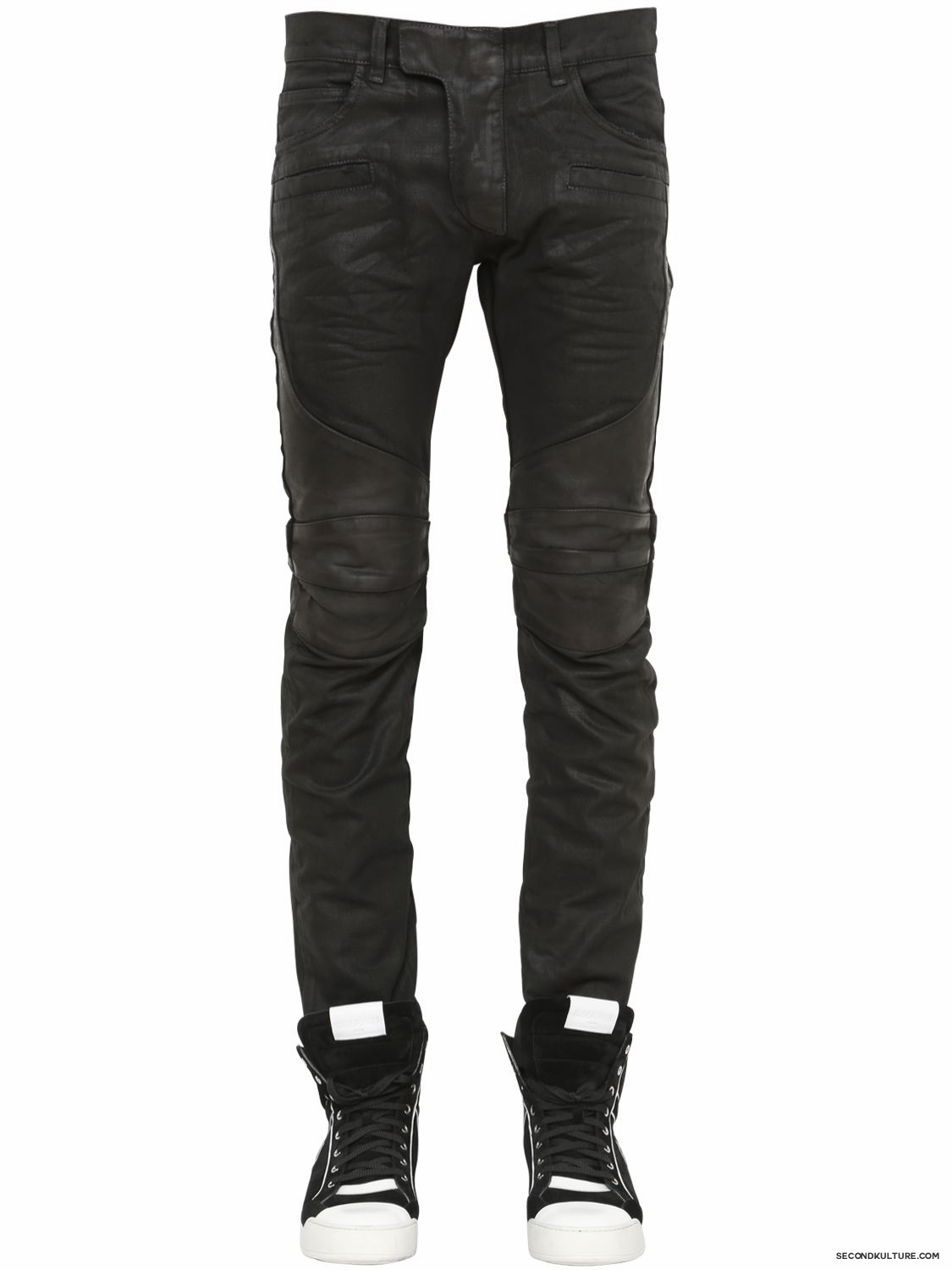 Balmain-17cm-Black-Waxed-Coated-Denim-Biker-Jeans-Fall-Winter-2015-1