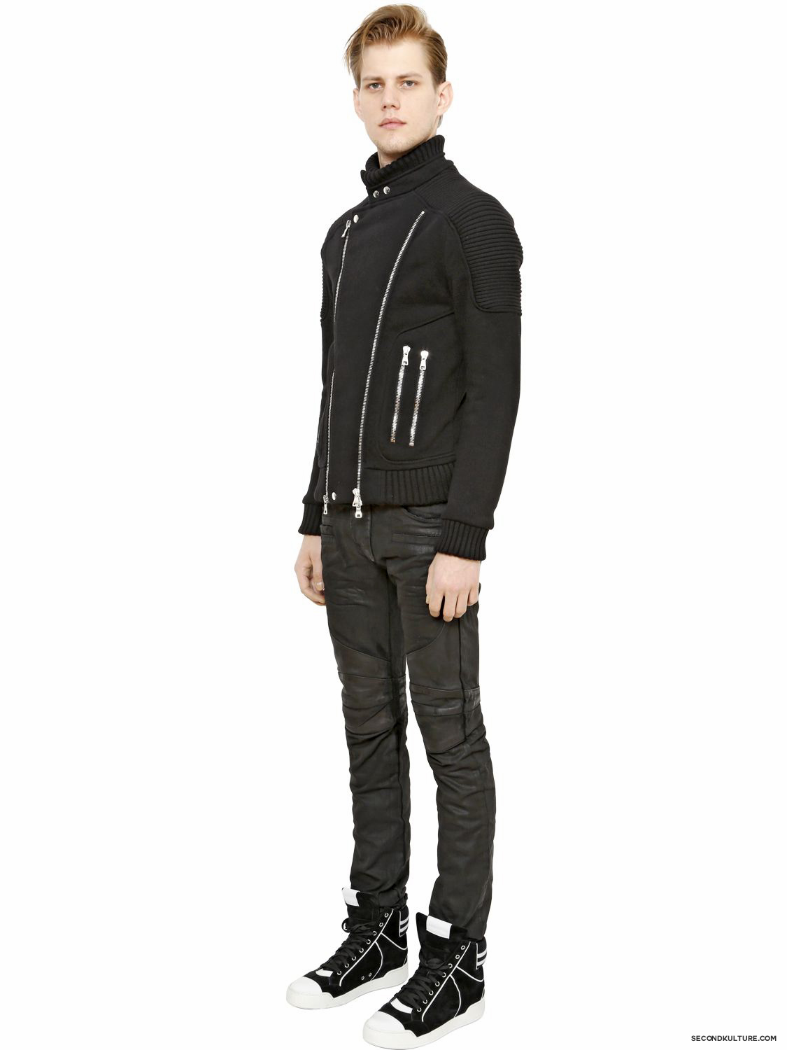 Balmain-17cm-Black-Waxed-Coated-Denim-Biker-Jeans-Fall-Winter-2015-2