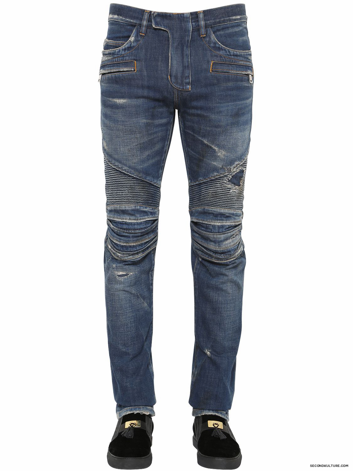 Balmain-17cm-Blue-Washed-Destroyed-Denim-Biker-Jeans-Fall-Winter-2015-1