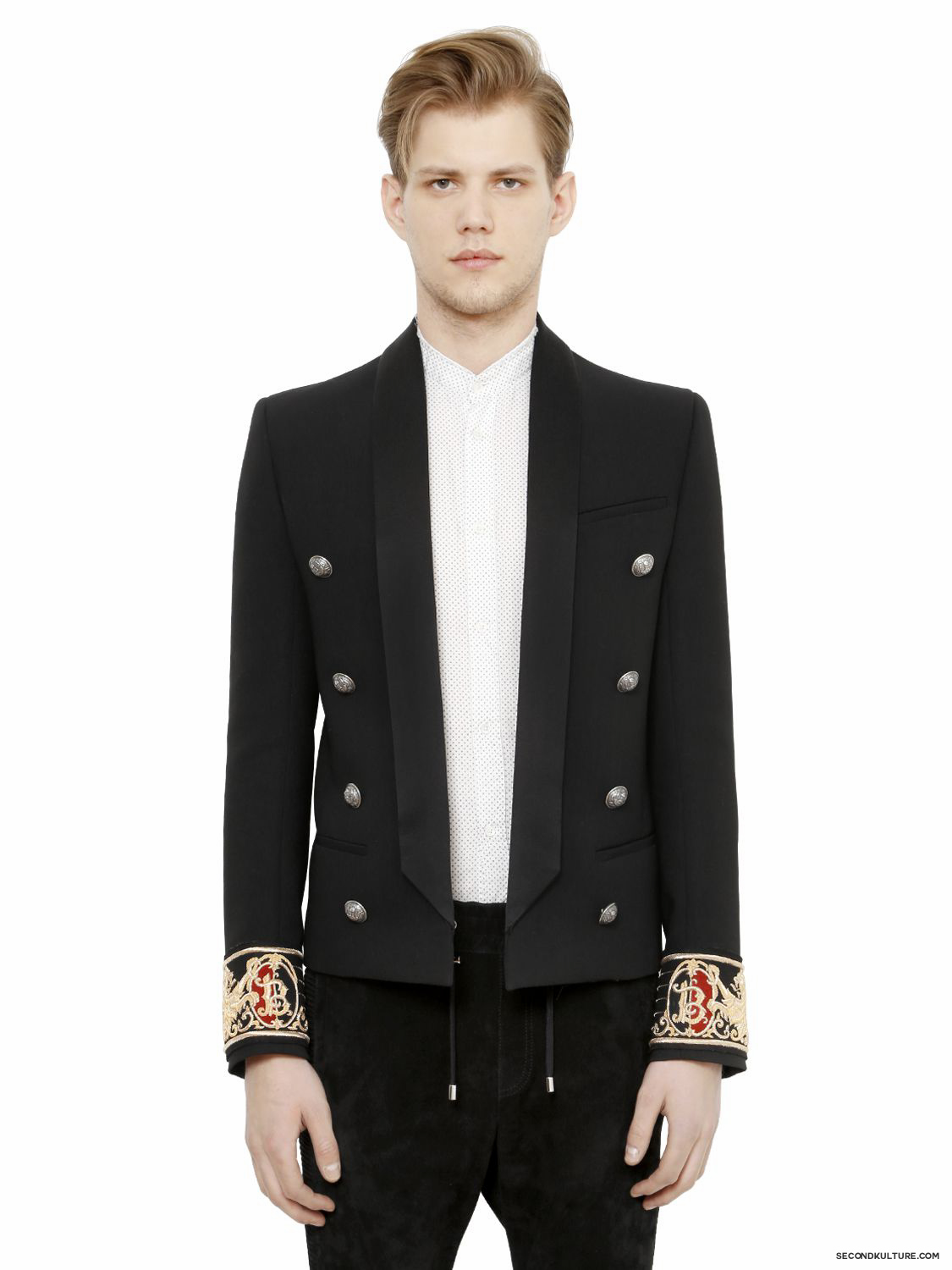 Balmain-Black-Crest-Embroidered-Cuffs-Wool-Garbardine-Jacket-Fall-Winter-2015-1
