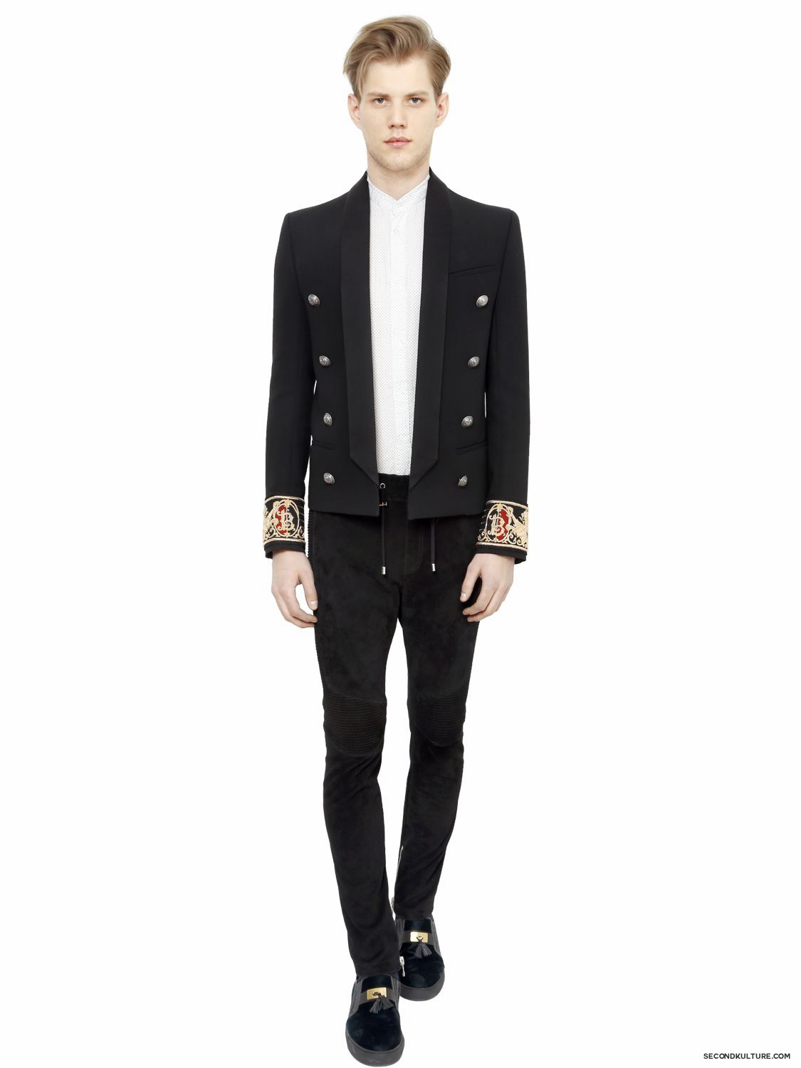 Balmain-Black-Crest-Embroidered-Cuffs-Wool-Garbardine-Jacket-Fall-Winter-2015-2
