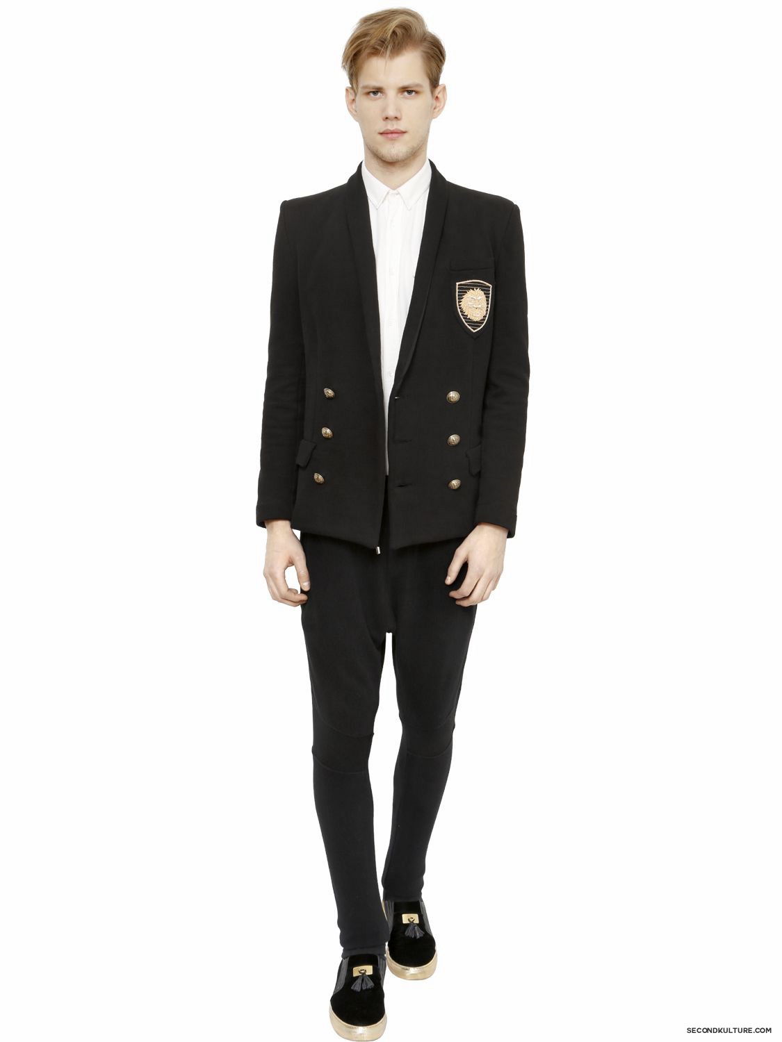 Balmain-Black-Double-Breasted-Lion-Embroidered-Sweat-Jacket-Fall-Winter-2015-2