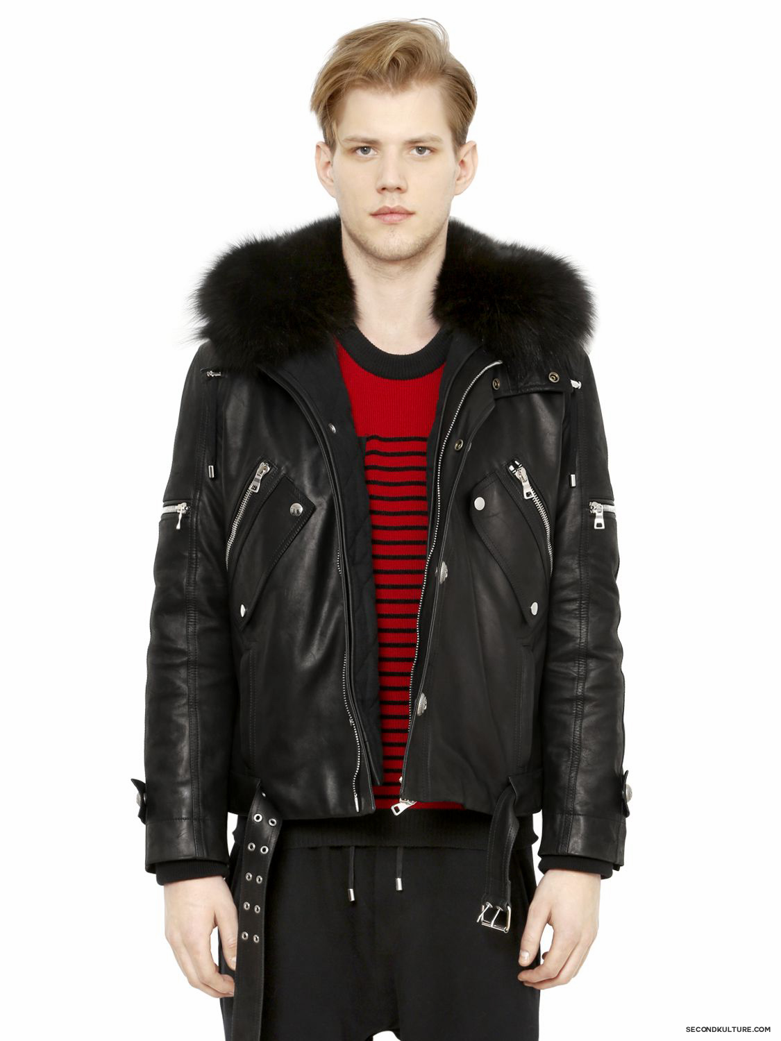 Balmain-Black-Fox-Fur-Hooded-Leather-Canvas-Detachable-Bomber-Jacket-Fall-Winter-2015-1
