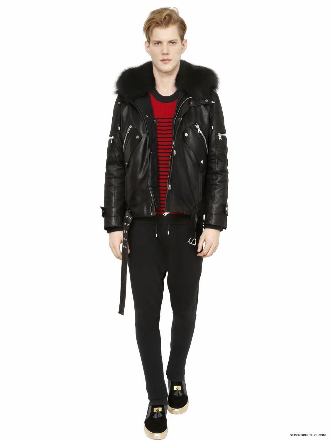 Balmain-Black-Fox-Fur-Hooded-Leather-Canvas-Detachable-Bomber-Jacket-Fall-Winter-2015-2
