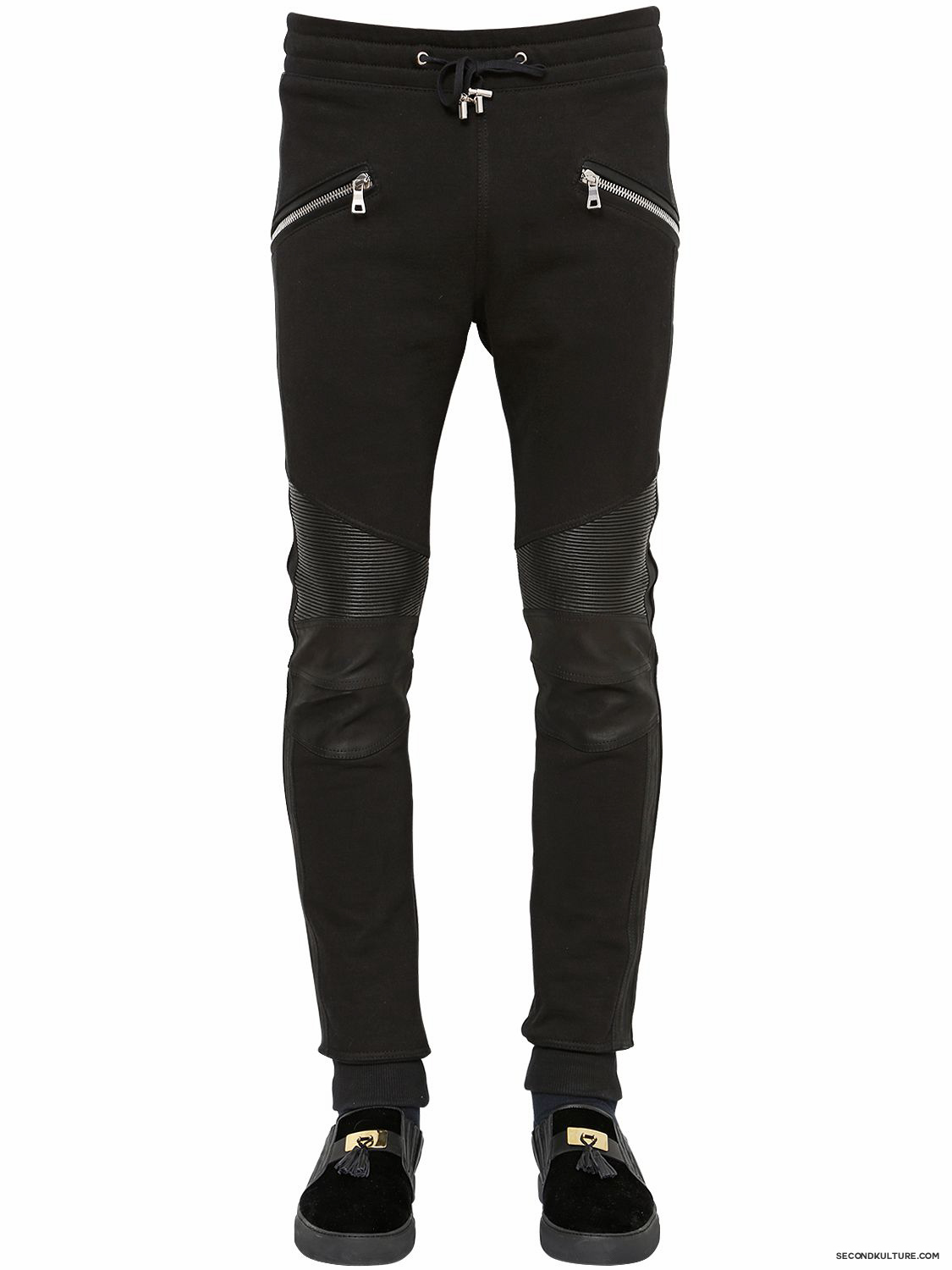 Balmain-Black-Leather-Insert-Biker-Sweatpants-Fall-Winter-2015-1