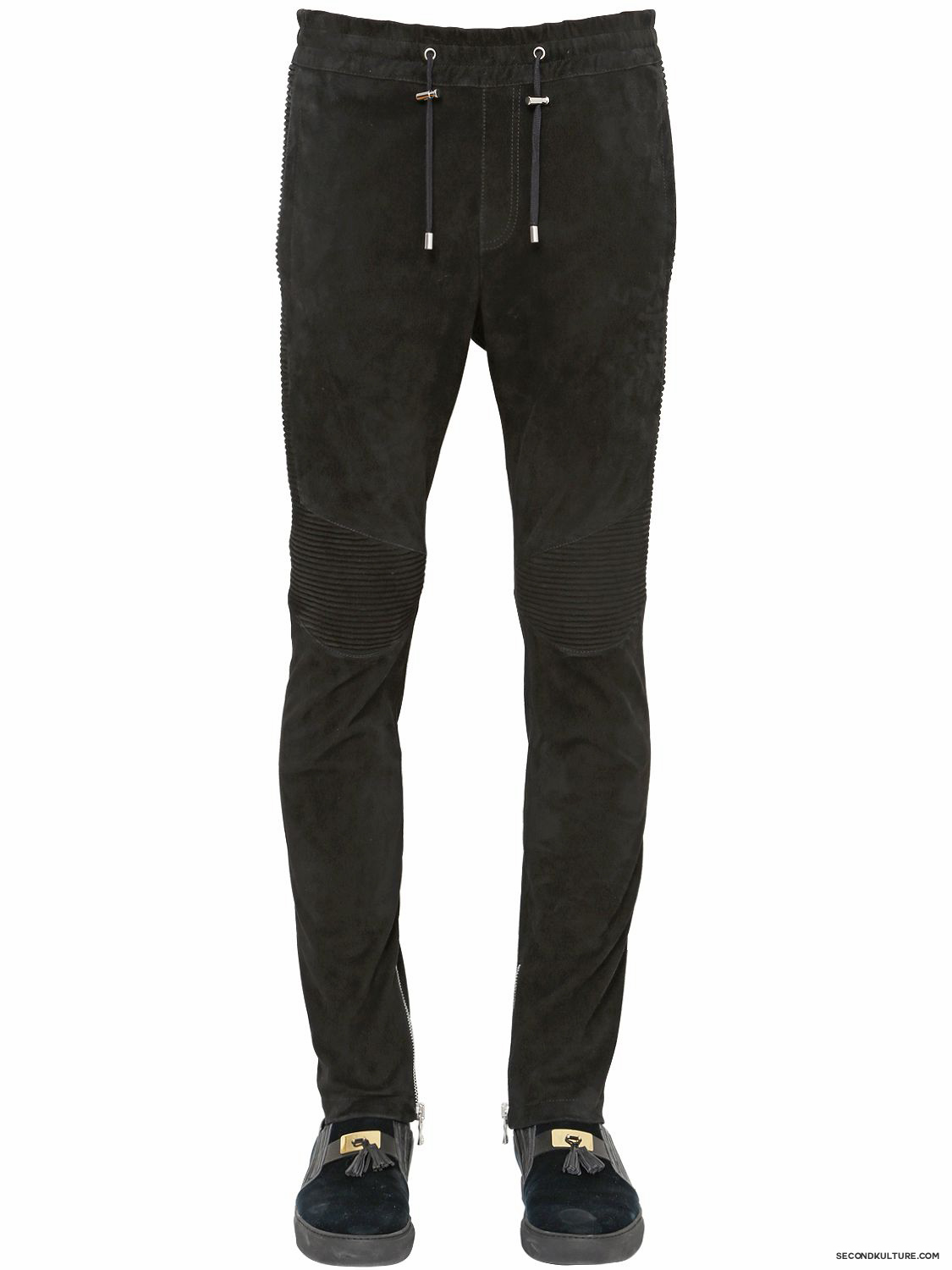 Balmain-Black-Suede-Biker-Sweatpants-Fall-Winter-2015-1