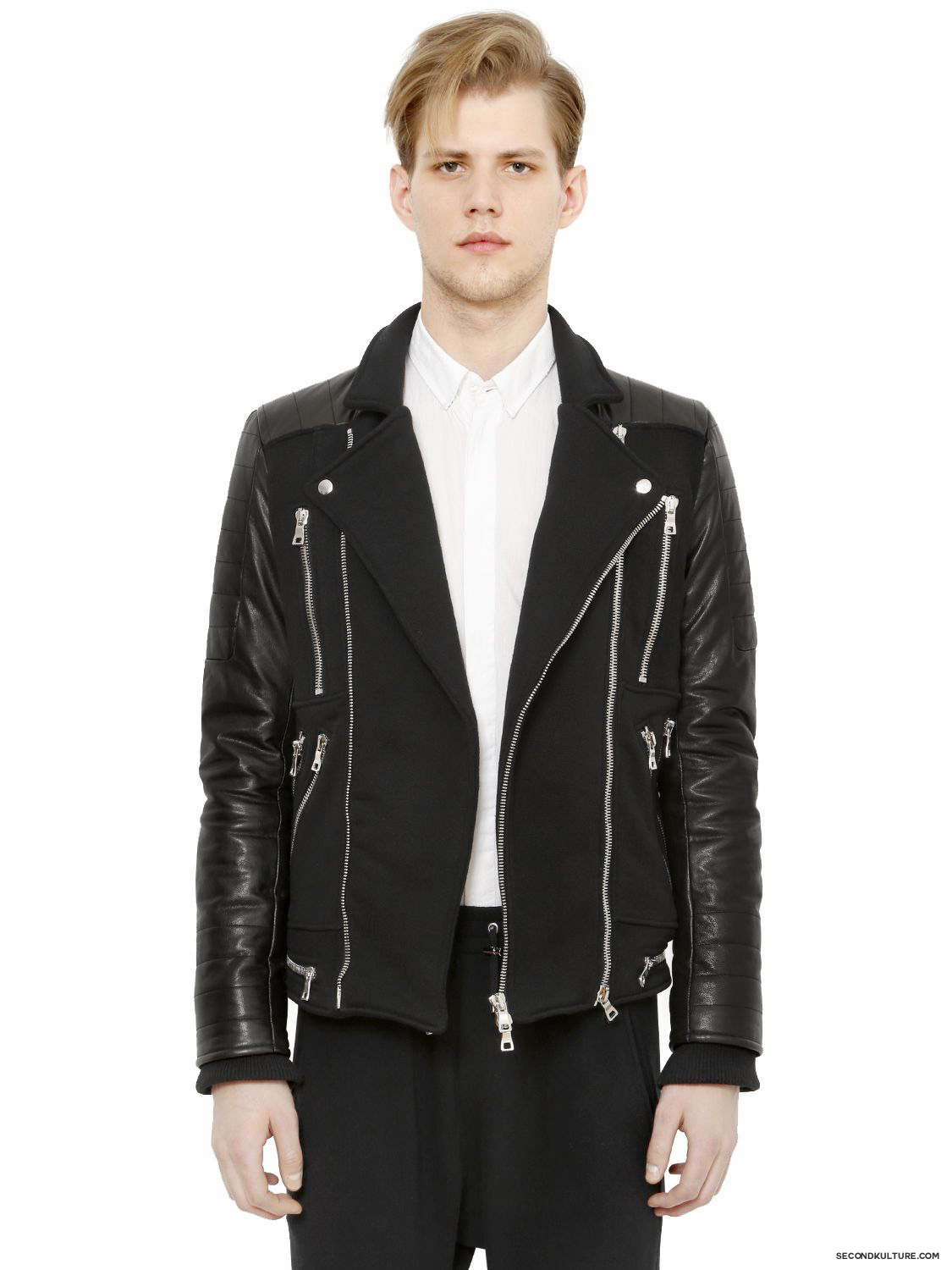 Balmain-Black-Zipped-Cotton-Leather-Panelled-Biker-Jacket-Fall-Winter-2015-1