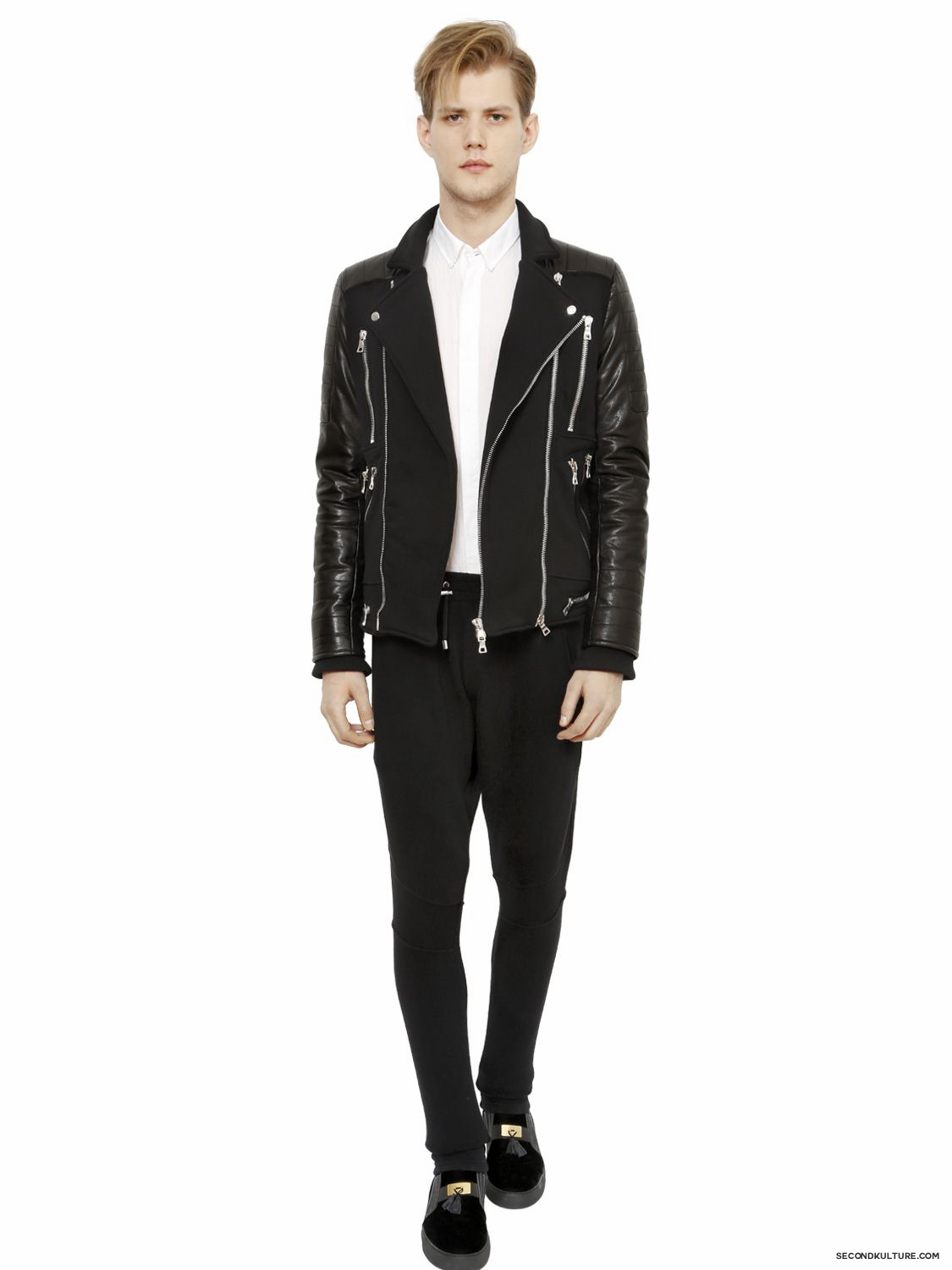 Balmain-Black-Zipped-Cotton-Leather-Panelled-Biker-Jacket-Fall-Winter-2015-2