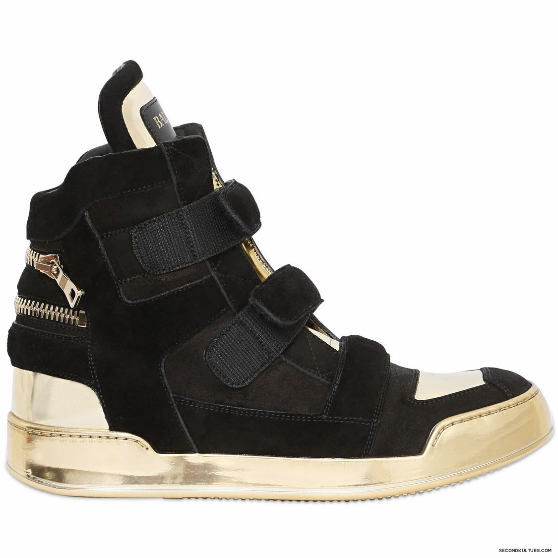 Balmain-Black-and-Gold-Crust-Suede-Velcro-High-Top-Sneakers-Fall-Winter-2015-1