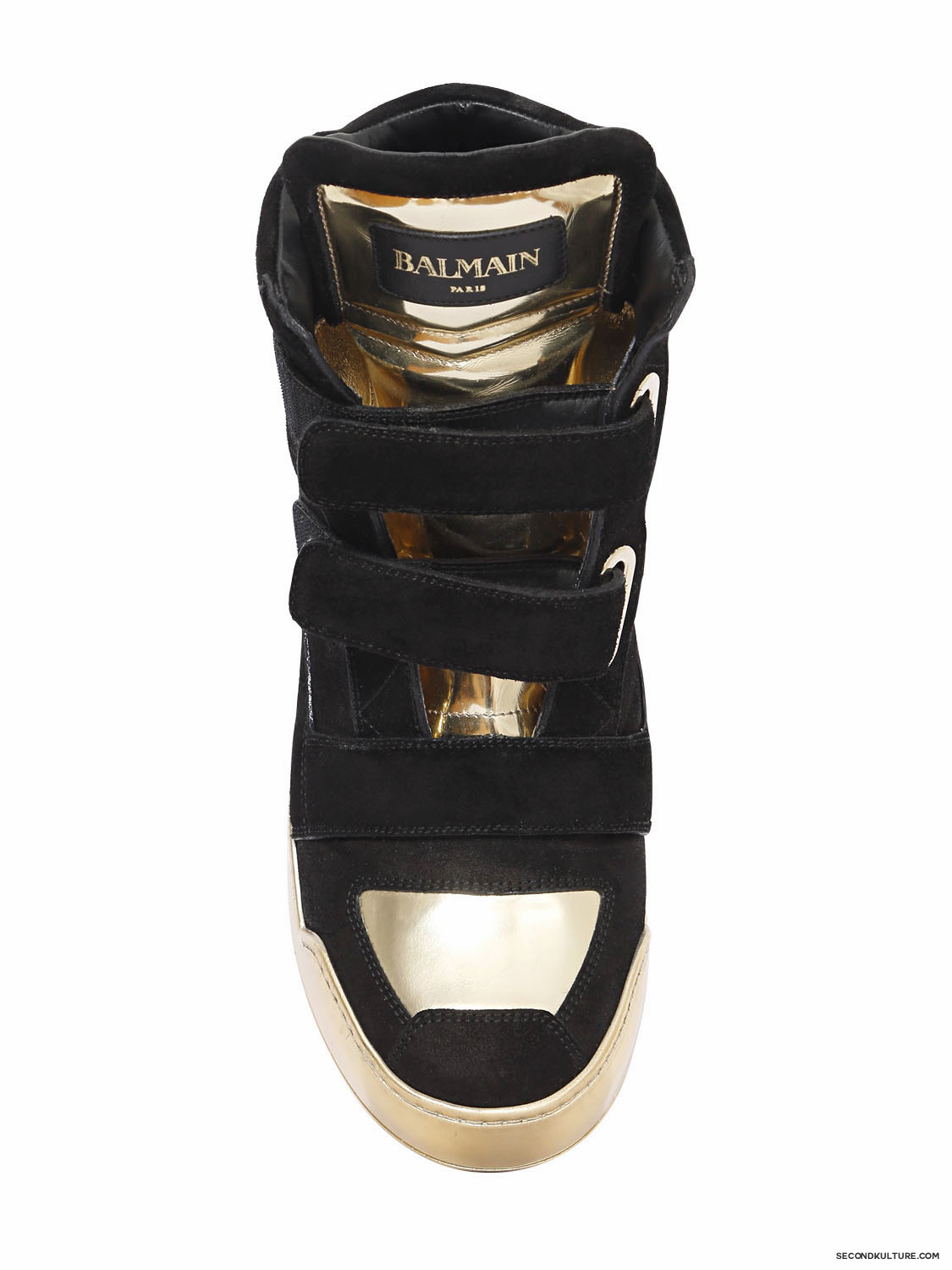 Balmain-Black-and-Gold-Crust-Suede-Velcro-High-Top-Sneakers-Fall-Winter-2015-2