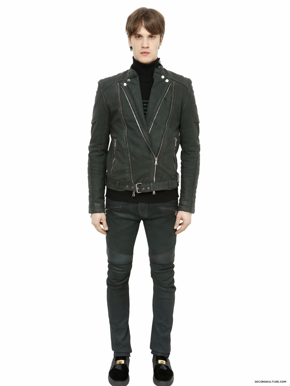 Balmain-Dark-Green-Coated-Nappa-Leather-Biker-Pants-Fall-Winter-2015-2