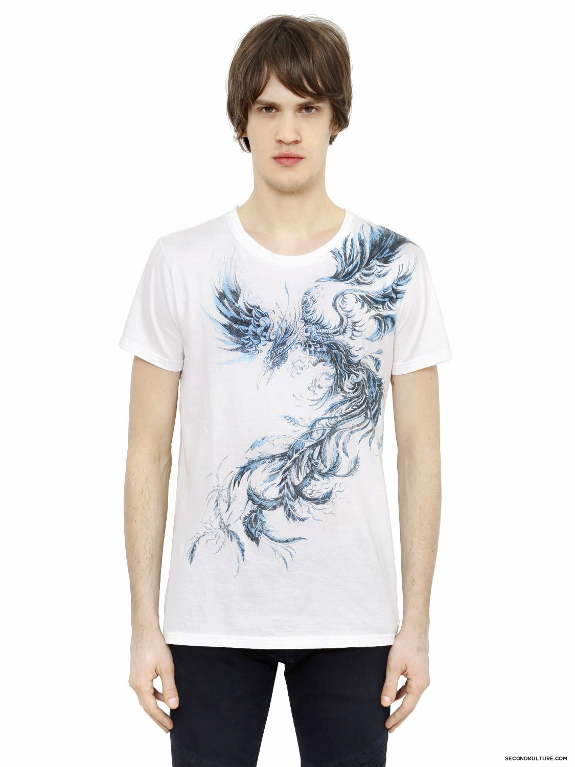 Balmain-White-Blue-Phoenix-Print-T-Shirt-Fall-Winter-2015-1