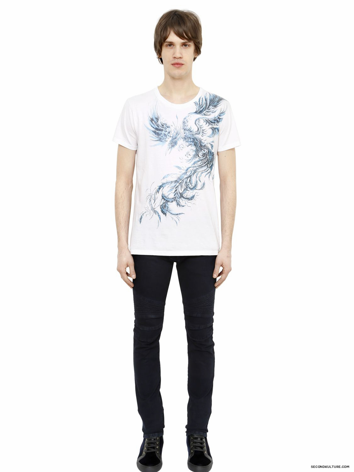 Balmain-White-Blue-Phoenix-Print-T-Shirt-Fall-Winter-2015-2