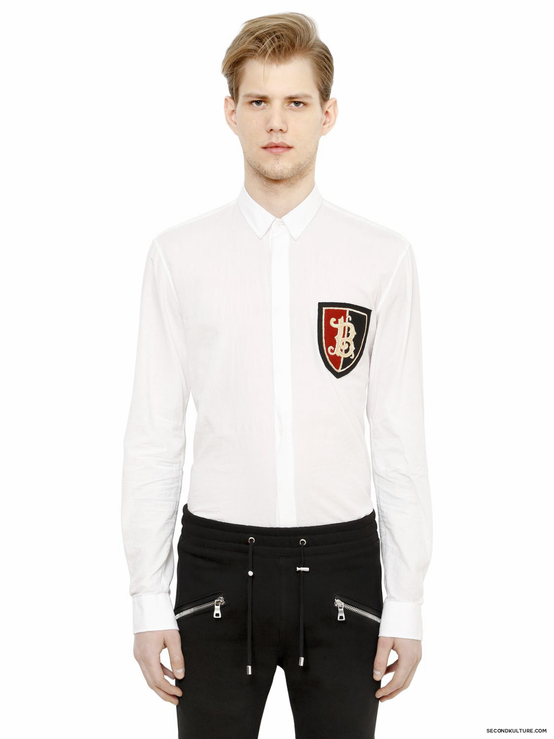 Balmain-White-Crest-Embroidered-Patch-Cotton-Shirt-Fall-Winter-2015-1