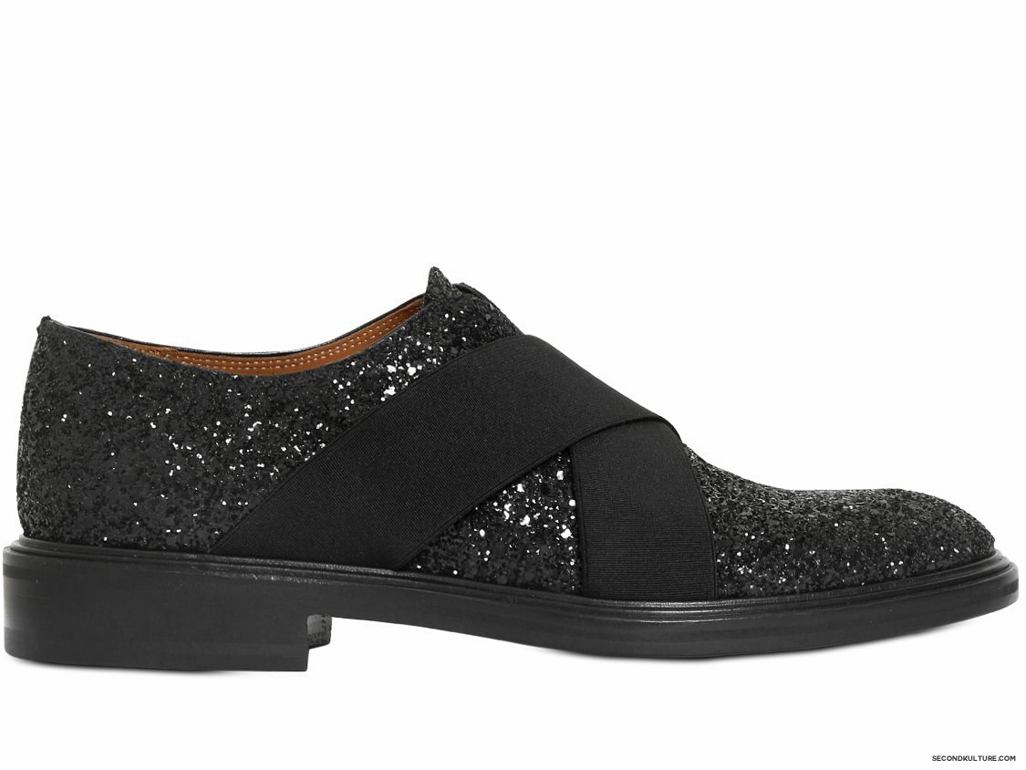 Givenchy-Black-Glittered-Elastic-Band-Leather-Shoes-Fall-Winter-2015-1