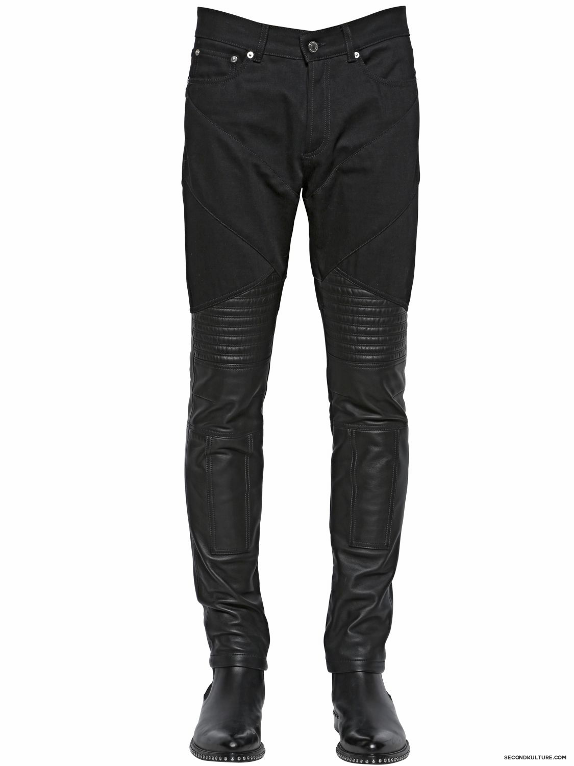Givenchy-Black-Leather-and-Denim-Ribbed-Panelled-Biker-Jeans-Fall-Winter-2015-1