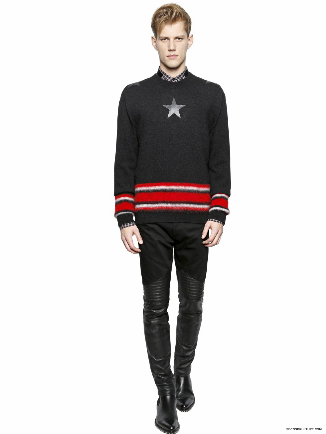 Givenchy-Black-Leather-and-Denim-Ribbed-Panelled-Biker-Jeans-Fall-Winter-2015-2