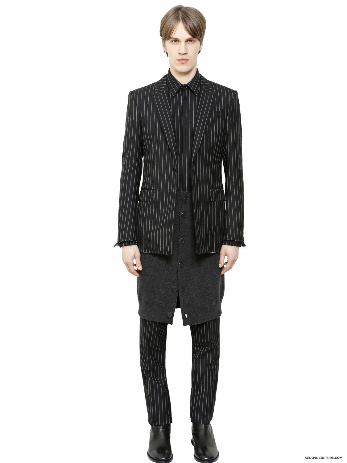Givenchy-Black-Pinstriped-Raw-Cut-Wool-Flannel-Jacket-Fall-Winter-2015-2