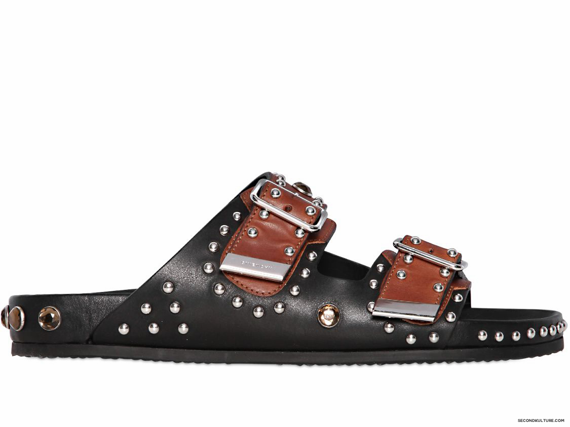 Givenchy-Black-and-Brown-Metal-and-Swarovski-Swiss-Studded-Leather-Sandals-Fall-Winter-2015-1