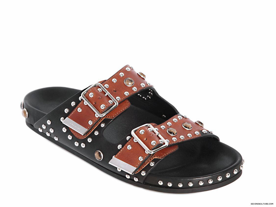 Givenchy-Black-and-Brown-Metal-and-Swarovski-Swiss-Studded-Leather-Sandals-Fall-Winter-2015-2