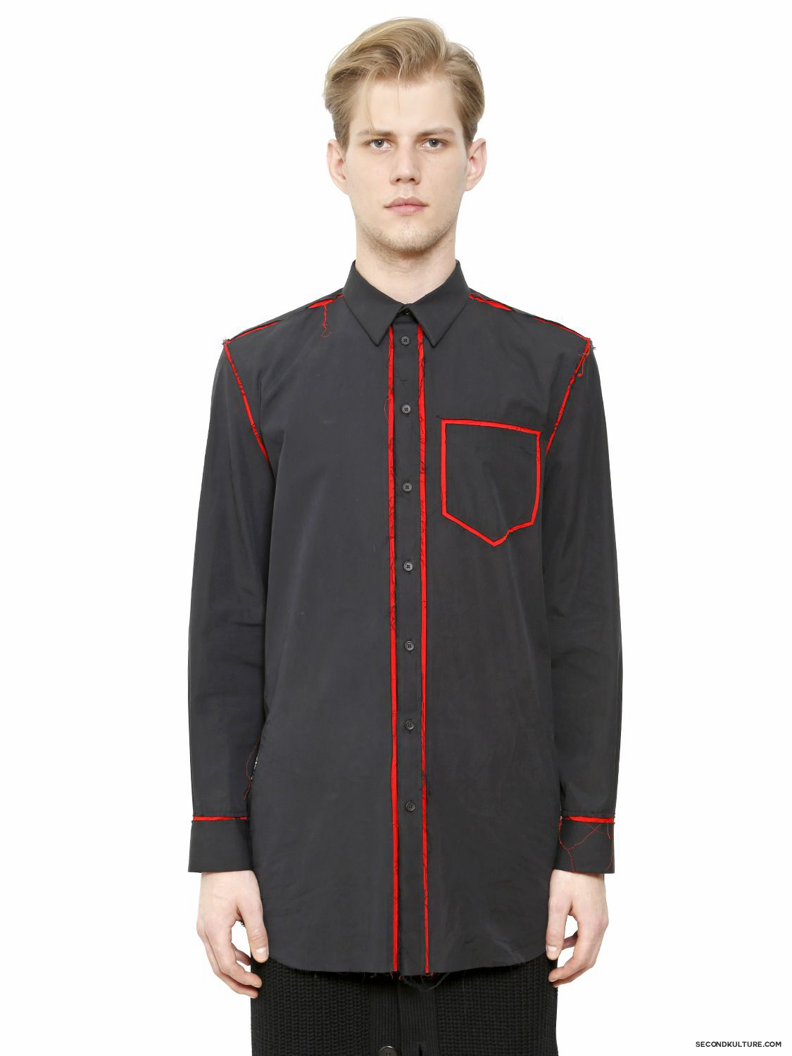 Givenchy-Midnight-Blue-and-Red-Raw-Trim-Long-Poplin-Shirt-Fall-Winter-2015-1