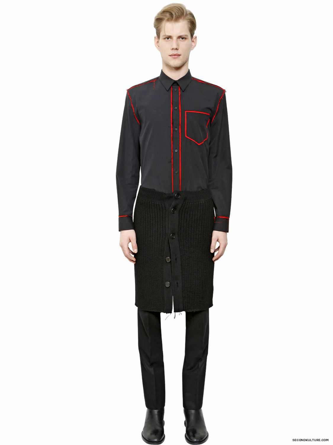 Givenchy-Midnight-Blue-and-Red-Raw-Trim-Long-Poplin-Shirt-Fall-Winter-2015-2