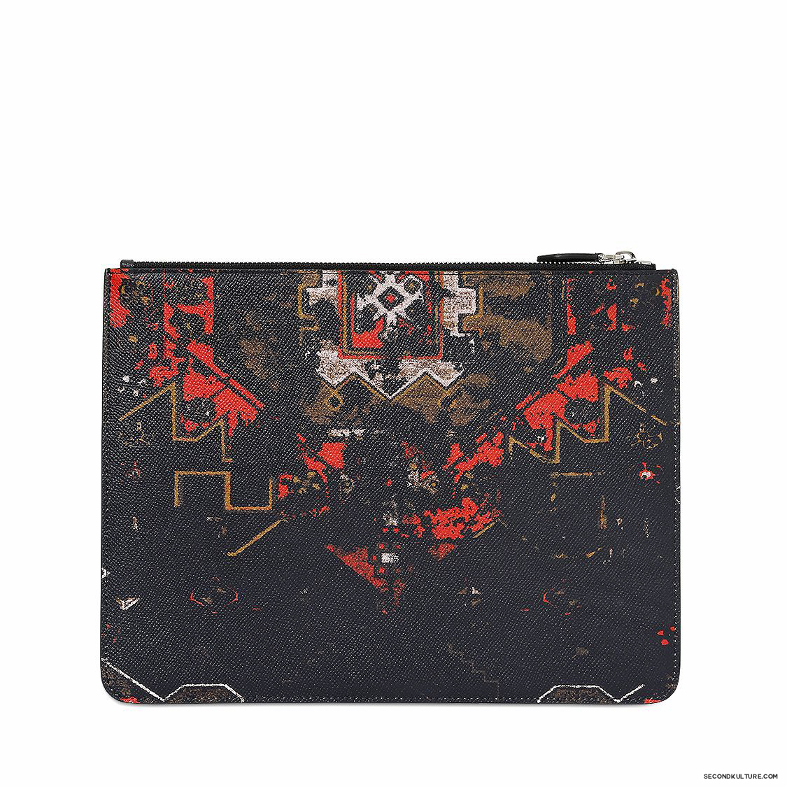 Givenchy-Native-American-Carpet-Degraded-Print-Zipped-Leather-Pouch-Fall-Winter-2015-2