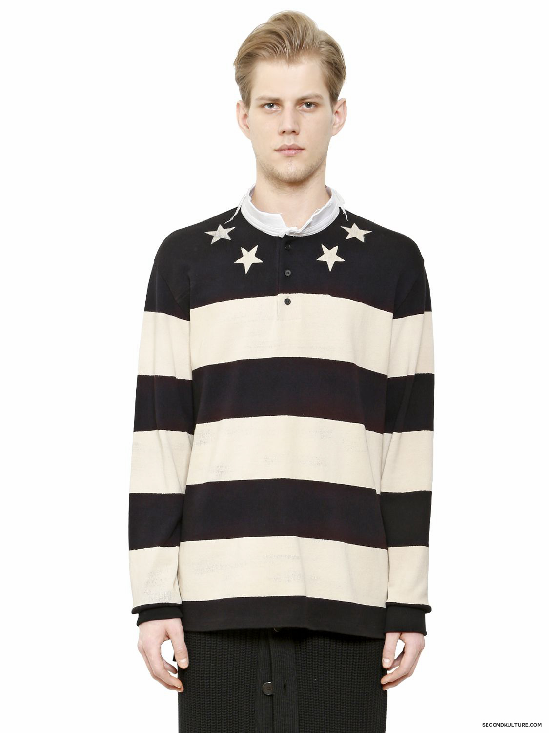 Givenchy-Stars-and-Stripes-Raw-Collar-Pique-Polo-Shirt-Fall-Winter-2015-1
