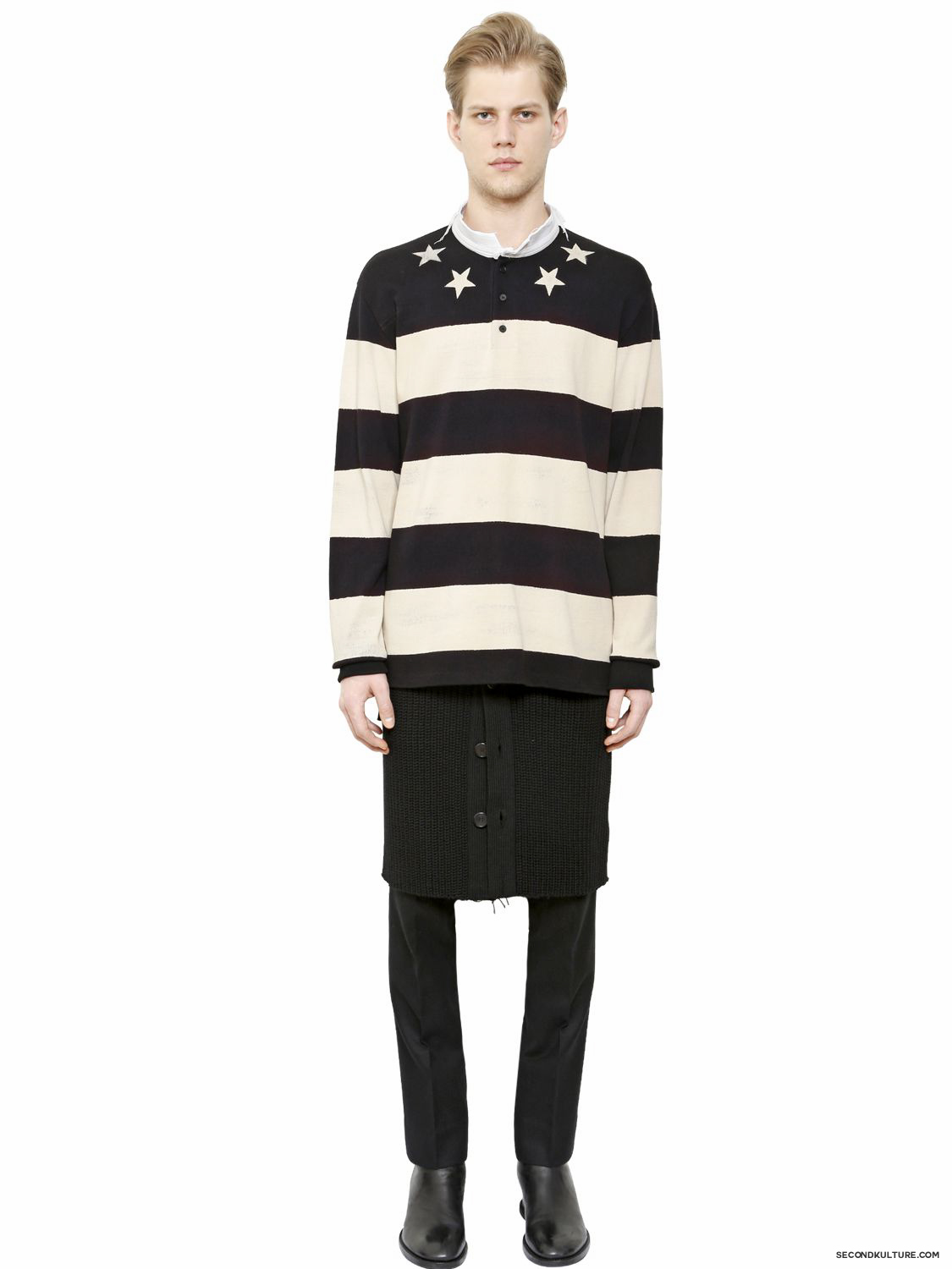 Givenchy-Stars-and-Stripes-Raw-Collar-Pique-Polo-Shirt-Fall-Winter-2015-2