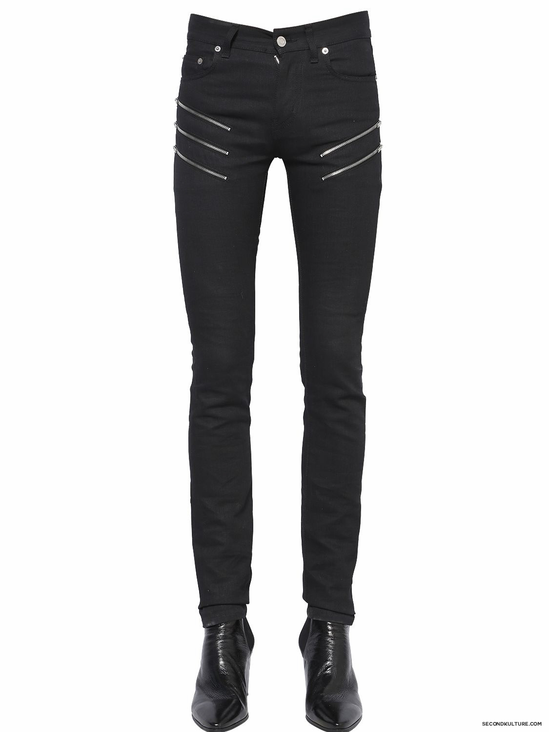 Saint-Laurent-15cm-Black-Zipped-Stretch-Denim-Jeans-Fall-Winter-2015-1