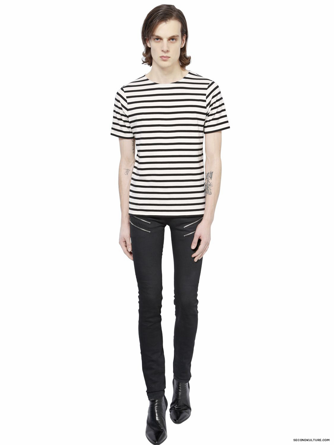 Saint-Laurent-15cm-Black-Zipped-Stretch-Denim-Jeans-Fall-Winter-2015-2