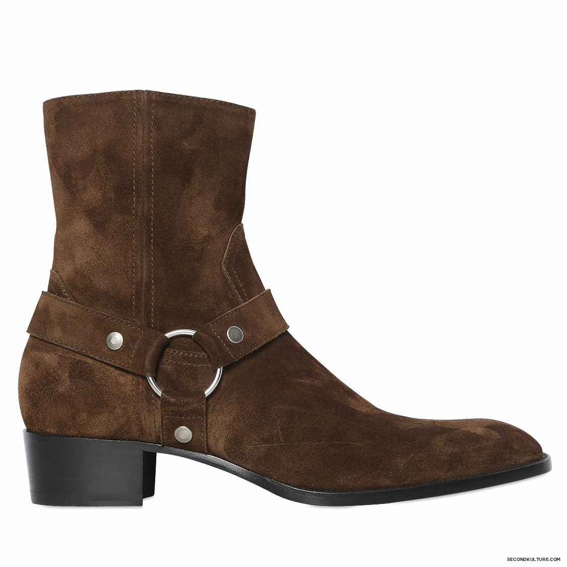 Saint-Laurent-40mm-Dark-Brown-Wyatt-Suede-Harness-Ankle-Boots-Fall-Winter-2015-1
