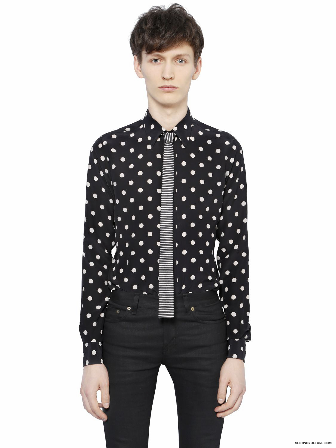 Saint-Laurent-Black-Contrast-Polka-Dot-Silk-Crepe-De-Chine-Shirt-Fall-Winter-2015-1