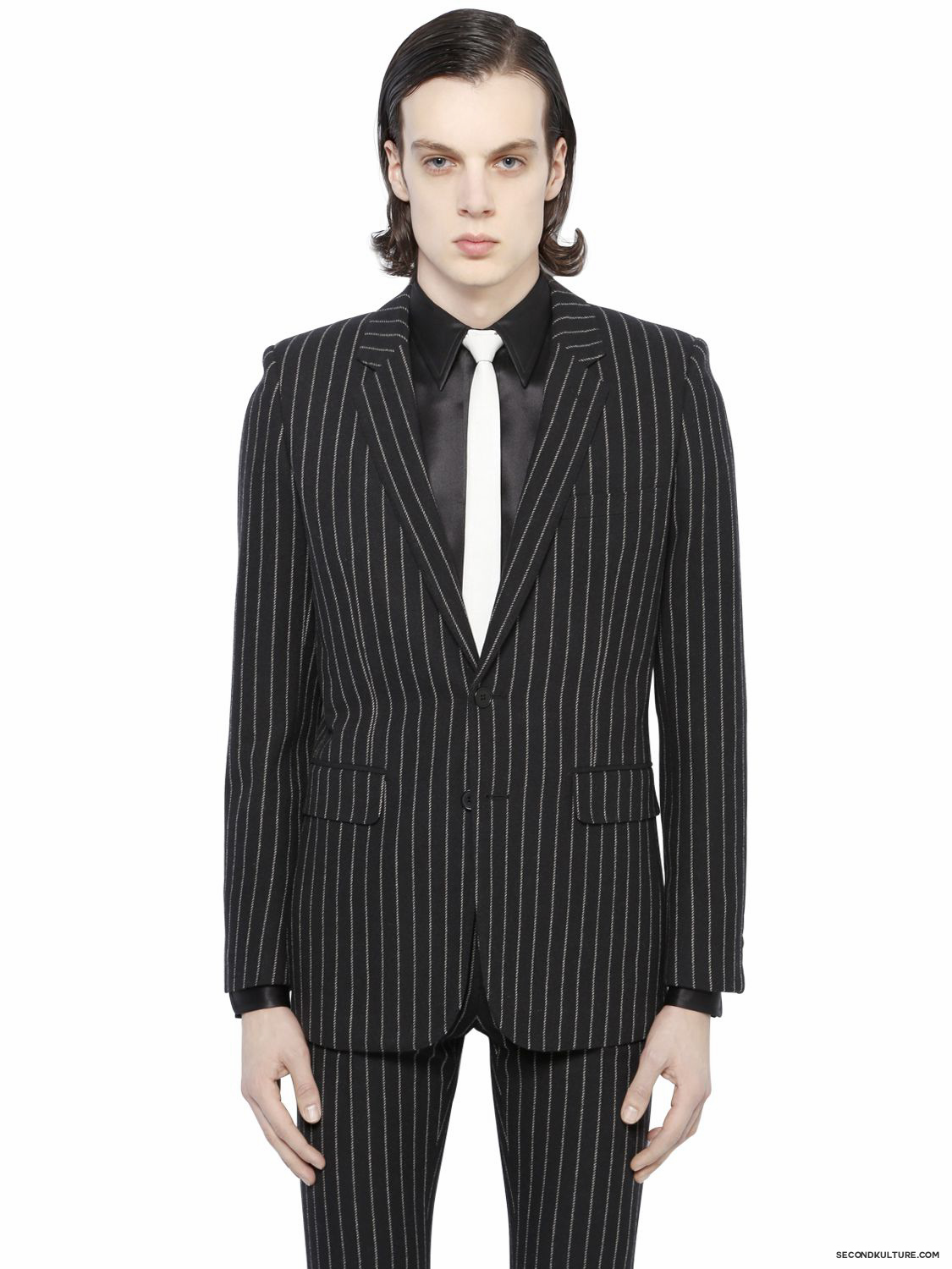 Saint-Laurent-Black-Contrast-Striped-Wool-Flannel-Jacket-Fall-Winter-2015-1