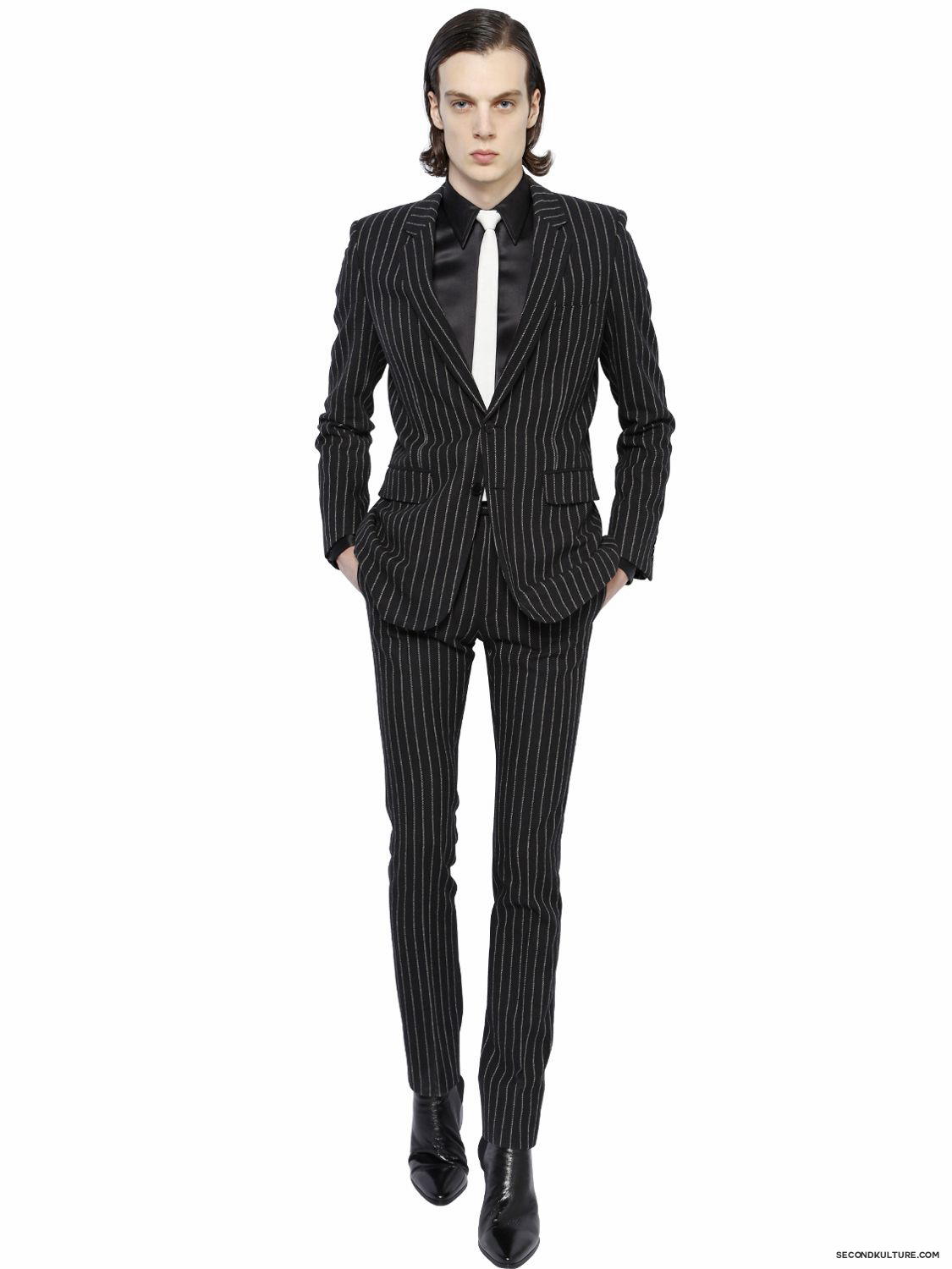 Saint-Laurent-Black-Contrast-Striped-Wool-Flannel-Jacket-Fall-Winter-2015-2
